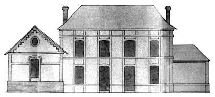 plan aquarellé de la Mairie en 1886. Archives départementales de Seine-Maritime